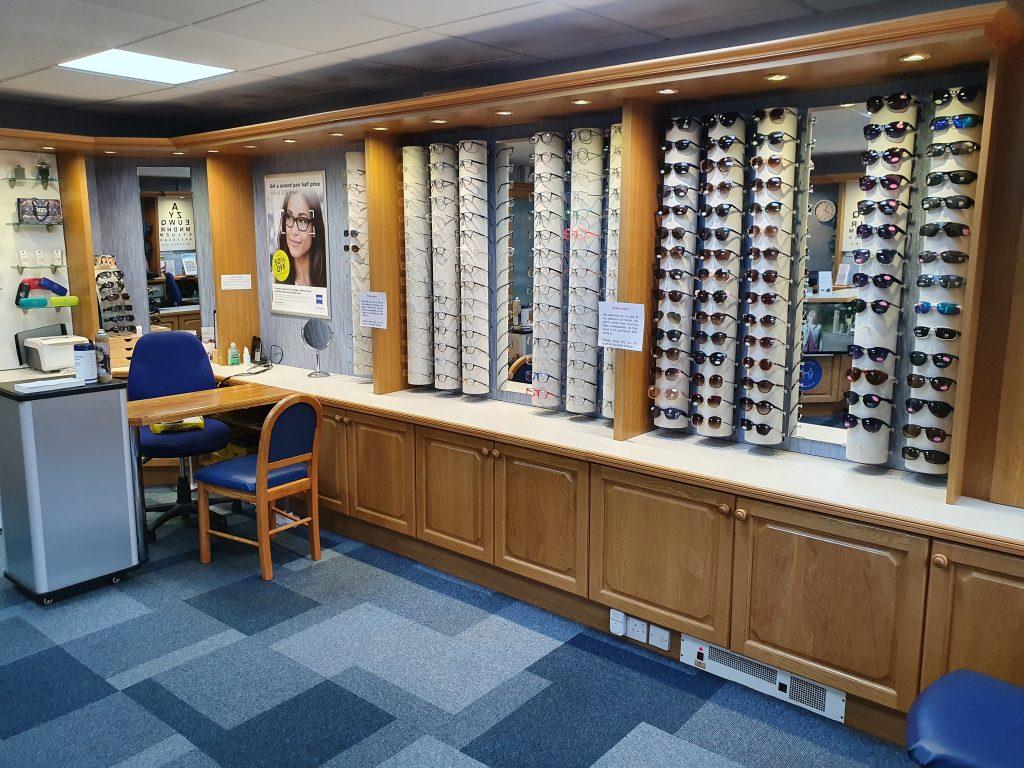 reception and frame display simon kleyn optician frinton on sea